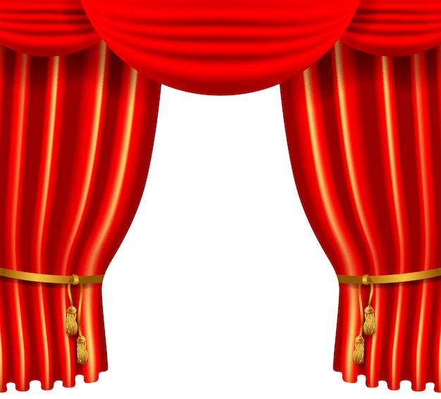 Roter silk luxusvorhang 3d, realistischer innendekorsamt