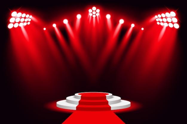 Roter stadiumslicht-podiumsscheinwerfer mit rotem teppich