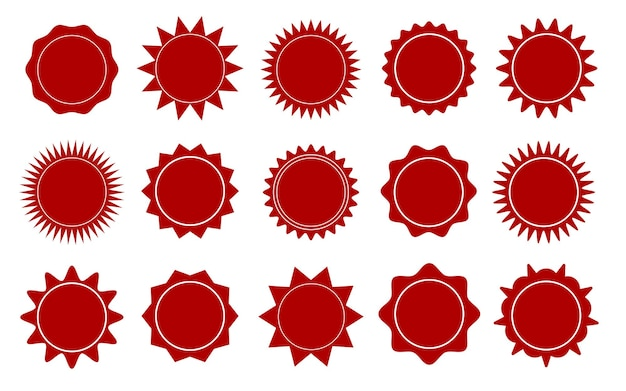 Roter sternaufkleber sonderangebot verkauf tag rabattangebot preisschild blanko promo sunburst sticke