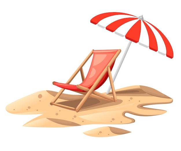 Roter strandkorb mit sonnenschirm. holzstuhl auf sand. bunte sommerillustration. flache illustration lokalisiert auf weißem hintergrund.