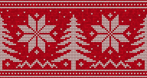 Roter strick nahtloser musterhintergrund mit weihnachtsbäumen und schneeflocken. illustration