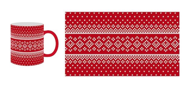 Roter strickdruck auf kaffeetasse. weihnachten nahtlose strickstruktur. weihnachtswintermuster mit raute und schnee. pullover, pullover illustration. traditionelles design der holiday fair isle.