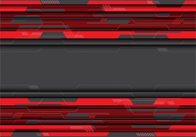 Roter stromkreis auf grauem futuristischem hintergrund.
