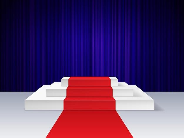 Roter teppich auf dem podium