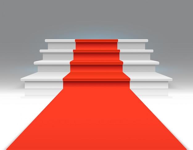 Roter teppich auf weißer gehender treppe. erfolg, geschäftswachstum und preis vector abstrakten exklusiven hintergrund. teppich auf treppenhaus, bis zum podium, treppenhausillustration