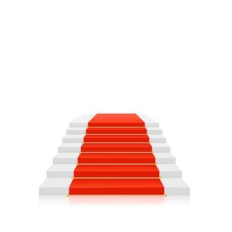 Roter teppich auf weißer treppe mit goldhaltern. vektor-illustration