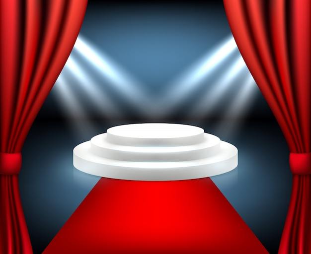 Roter teppich award. treppe zur siegerbühne des podiums mit realistischem rotem teppich im innenraum des beleuchtungsfestivals