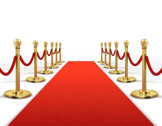 Roter teppich für berühmtheit mit goldseilsperre. erfolgs-, prestige- und hollywood-ereignisvektorkonzept. illustration der roten farbe des teppichs für eingang vip