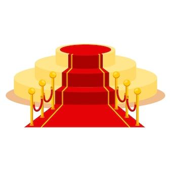 Roter teppich für feiertagsgrußzeremonien. award, der die gewinner, berühmte persönlichkeiten, prominente ehrt. flache vektor-cartoon-teppich-illustration. objekte isoliert auf weißem hintergrund.