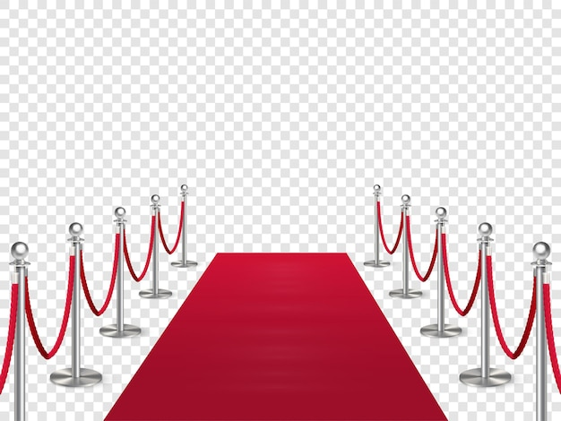 Roter teppich mit metallsäulenschutz isoliert