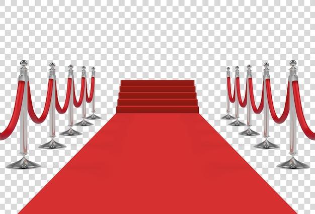 Roter teppich mit treppe, podest, roten seilen und goldenen rungen. vektor-illustration.