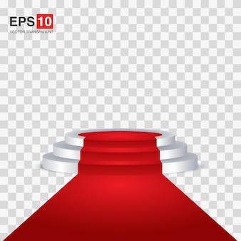 Roter teppich und rundes podium