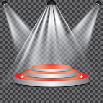 Roter teppich zum podium mit scheinwerfer