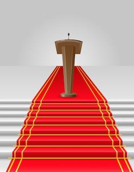 Roter teppich zur tribünenvektorillustration