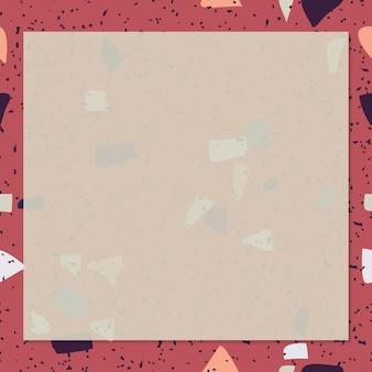 Roter terrazzorahmen mit leerzeichen