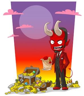 Roter teufel der karikatur mit vertrag und schatztruhe