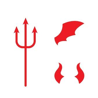Roter teufel-logo-vektor-symbol-vorlage