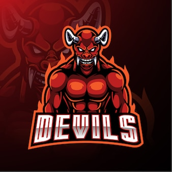 Roter teufel maskottchen logo