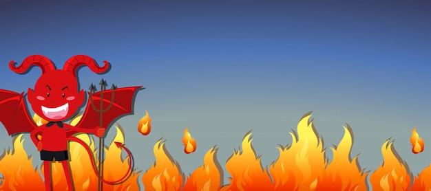 Roter teufel mit feuerfahne