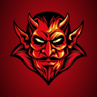 Roter teufelskopf des maskottchenlogos in der hand gezeichnet