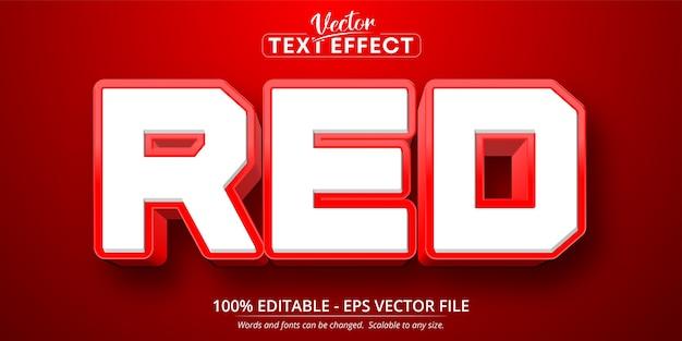 Roter text, bearbeitbarer texteffekt im cartoon-stil