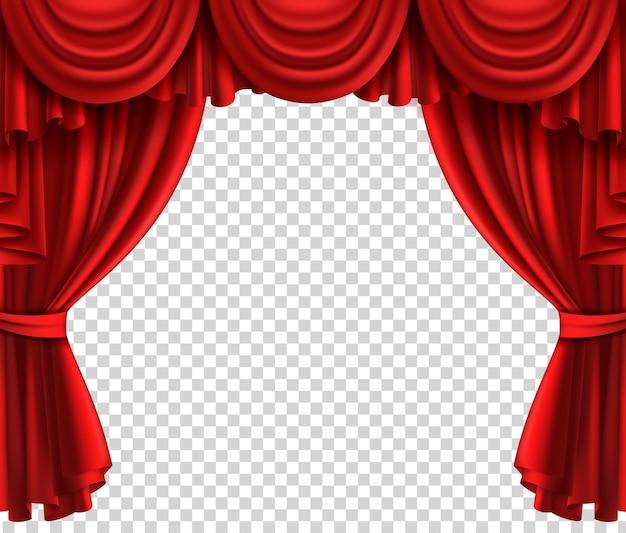 Roter theatervorhang. realistische szene glamour portiere auf transparentem hintergrund, kino oder zirkus drapieren luxusseide oder samt geöffnete bühnenvektor realistische stoffvorhänge