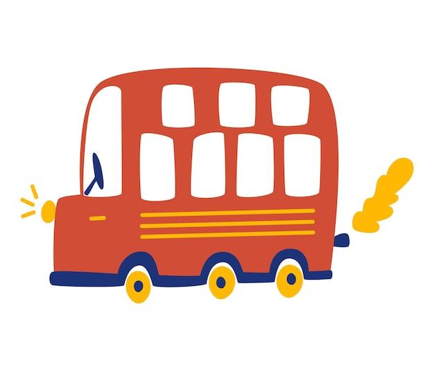 Roter touristenbus der karikatur. städtischer transport. londoner stadtbus. kindervektorillustration für poster, t-shirt, postkarte, buch. isoliert auf weißem hintergrund.
