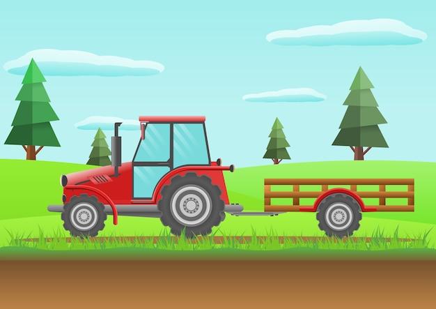 Roter traktor des bauernhofes