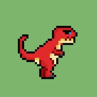 Roter trex-dinosaurier mit pixel-art-stil