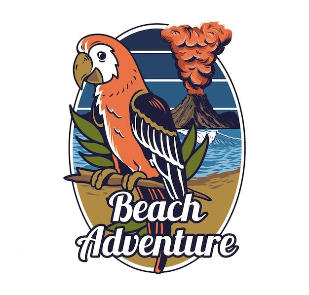 Roter tropischer exotischer wilder papageienvogel-hawaii-sommerstrand mit ozean-meereswelle und großem aktivem vulkan