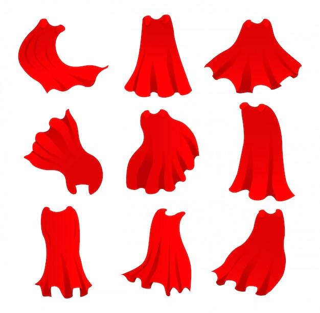 Roter umhang des superhelden in verschiedenen positionen, vorder-, seiten- und rückansicht auf weißem hintergrund.