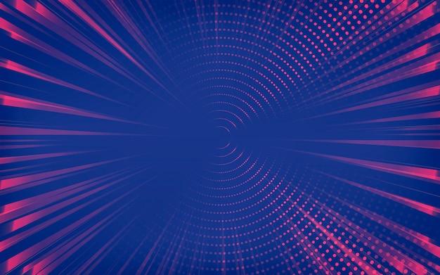 Roter und blauer abstrakter halbton gepunkteter hintergrund