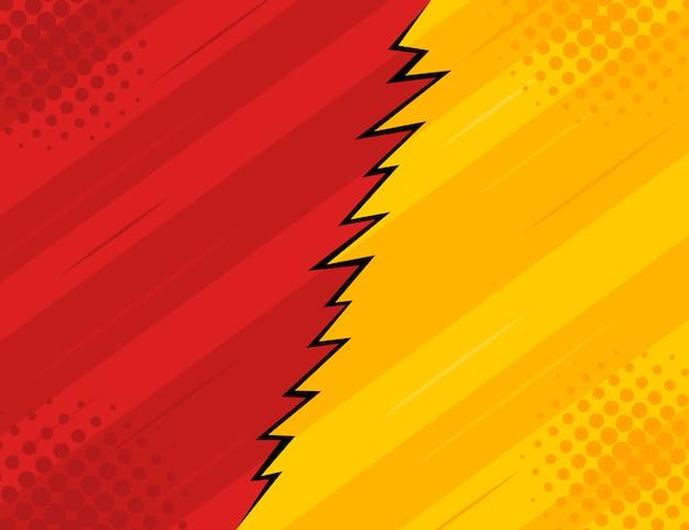 Roter und gelber retro- weinlesearthintergrund mit strahlen und blitz.