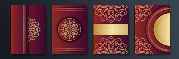 Roter und goldener abstrakter hintergrund. vektorillustrationsdesign für social media-vorlage, grußkarte, luxuseinladung, festival, geschäftspräsentation, banner, cover, unternehmensidentität