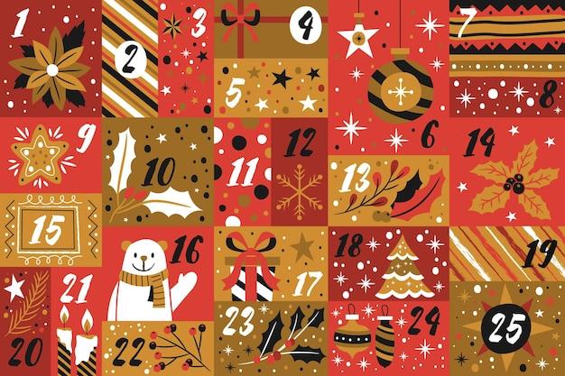 Roter und goldener adventskalender