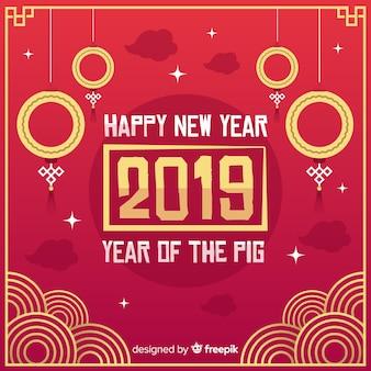 Roter und goldener chinesischer Hintergrund des neuen Jahres 2019