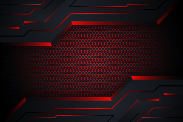 Roter und schwarzer abstrakter technologiehintergrund. sechseck-verlaufsmuster und horizontales layout.