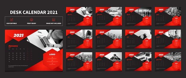 Roter und schwarzer farbschreibtischkalender 2021 vorlagenentwurf