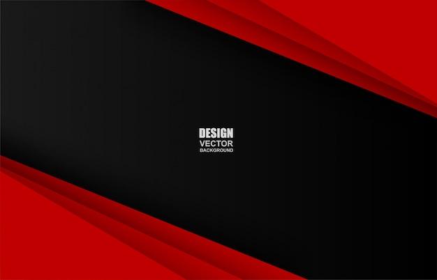 Roter und schwarzer geometrischer überlappungshintergrund