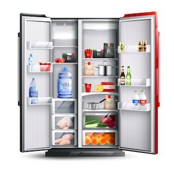 Roter und schwarzer offener kühlschrank mit produkten