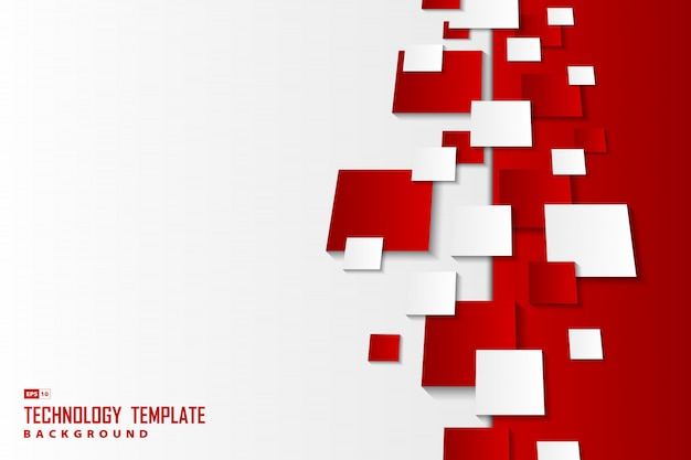 Roter und weißer quadratischer mustermuster-hintergrund der abstrakten farbverläufe.
