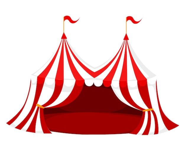 Roter und weißer zirkus oder karnevalszelt mit flaggen und roter bodenillustration auf weißer hintergrundwebseite und mobiler app