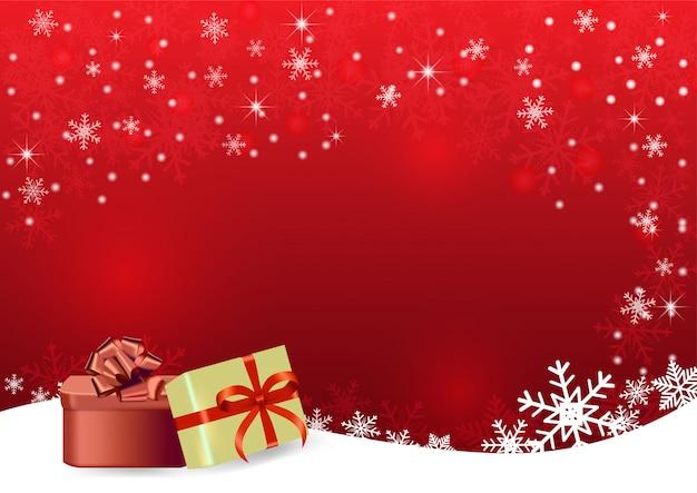 Roter vektorhintergrund des weihnachtsjahres mit geschenk