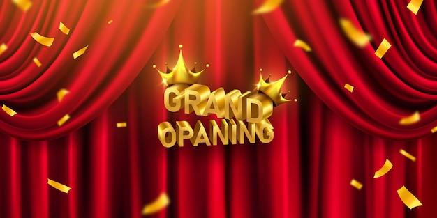 Roter vorhang banner. design der eröffnungsveranstaltung. konfetti goldbänder.