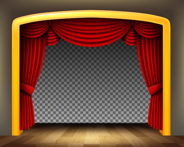 Roter vorhang des klassischen theaters