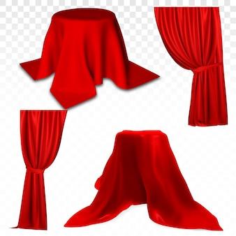 Roter vorhang. realistischer satz des vektors 3d