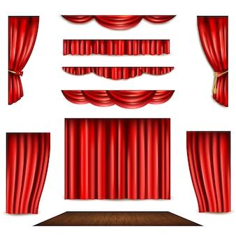Roter vorhang und bühne icons set