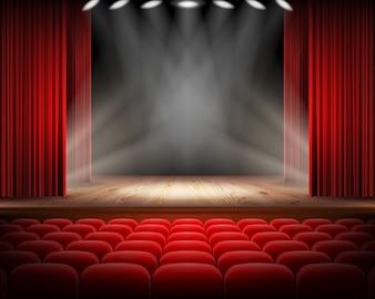 Roter vorhang und leere theaterszene