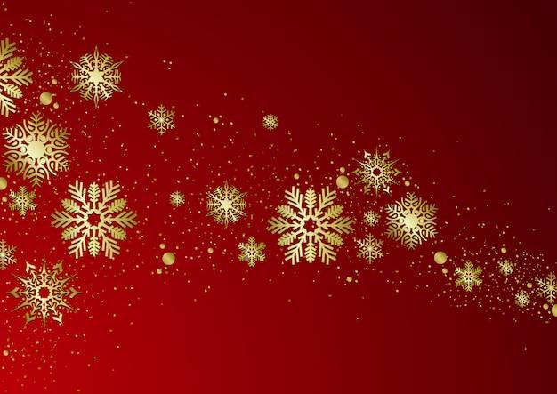 Roter weihnachtshintergrund mit goldenen schneeflocken