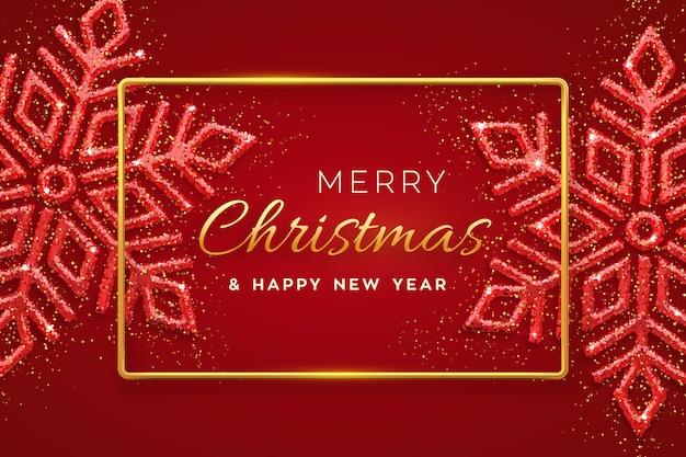 Roter weihnachtshintergrund mit leuchtenden schneeflocken. frohe weihnachten grußkarte.